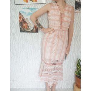 Foxiedox Pink Womens Crochet lace overlay Dress